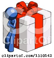 Blue Design Mascot Woman Leaning On Gift With Red Bow Angle View