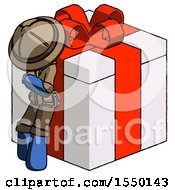 Blue Explorer Ranger Man Leaning On Gift With Red Bow Angle View