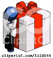 Blue Doctor Scientist Man Leaning On Gift With Red Bow Angle View