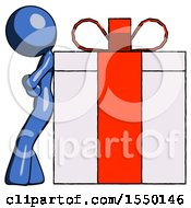 Blue Design Mascot Woman Gift Concept Leaning Against Large Present