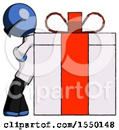 Blue Doctor Scientist Man Gift Concept Leaning Against Large Present