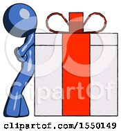 Blue Design Mascot Man Gift Concept Leaning Against Large Present
