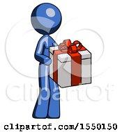 Blue Design Mascot Woman Giving A Present