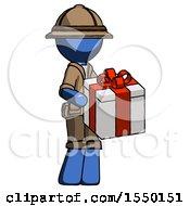 Blue Explorer Ranger Man Giving A Present