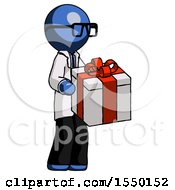 Blue Doctor Scientist Man Giving A Present