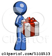 Blue Design Mascot Man Giving A Present
