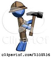 Blue Explorer Ranger Man Hammering Something On The Right