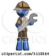 Blue Explorer Ranger Man Holding Large Wrench With Both Hands
