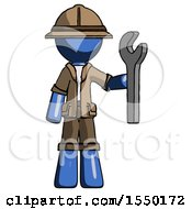 Blue Explorer Ranger Man Holding Wrench Ready To Repair Or Work
