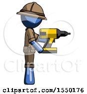Blue Explorer Ranger Man Using Drill Drilling Something On Right Side