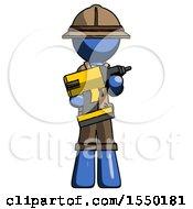 Blue Explorer Ranger Man Holding Large Drill