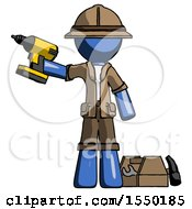 Blue Explorer Ranger Man Holding Drill Ready To Work Toolchest And Tools To Right