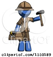 Blue Explorer Ranger Man Holding Tools And Toolchest Ready To Work