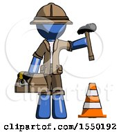 Blue Explorer Ranger Man Under Construction Concept Traffic Cone And Tools