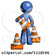 Blue Design Mascot Woman Holding A Traffic Cone