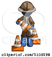 Blue Explorer Ranger Man Holding A Traffic Cone