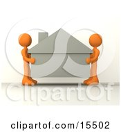Two Orange People Carefully Moving A House To A New Location Clipart Illustration Image