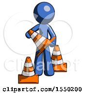 Blue Design Mascot Man Holding A Traffic Cone