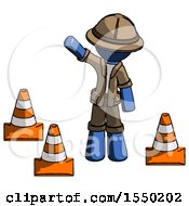 Blue Explorer Ranger Man Standing By Traffic Cones Waving