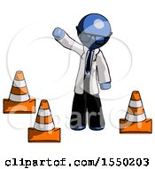 Blue Doctor Scientist Man Standing By Traffic Cones Waving