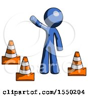Blue Design Mascot Man Standing By Traffic Cones Waving