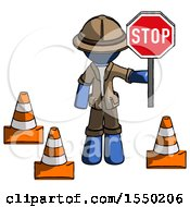 Blue Explorer Ranger Man Holding Stop Sign By Traffic Cones Under Construction Concept