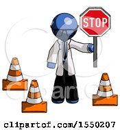 Blue Doctor Scientist Man Holding Stop Sign By Traffic Cones Under Construction Concept