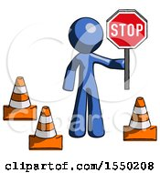 Blue Design Mascot Man Holding Stop Sign By Traffic Cones Under Construction Concept