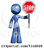 Blue Design Mascot Woman Holding Stop Sign
