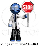 Blue Doctor Scientist Man Holding Stop Sign