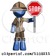 Blue Explorer Ranger Man Holding Stop Sign