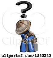 Blue Explorer Ranger Man Thinker Question Mark Concept