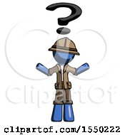 Blue Explorer Ranger Man With Question Mark Above Head Confused