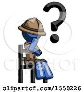 Blue Explorer Ranger Man Question Mark Concept Sitting On Chair Thinking