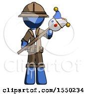 Blue Explorer Ranger Man Holding Jester Diagonally