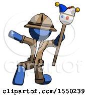 Blue Explorer Ranger Man Holding Jester Staff Posing Charismatically