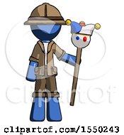 Blue Explorer Ranger Man Holding Jester Staff