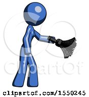 Blue Design Mascot Woman Dusting With Feather Duster Downwards