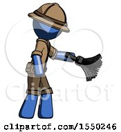 Blue Explorer Ranger Man Dusting With Feather Duster Downwards