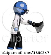 Blue Doctor Scientist Man Dusting With Feather Duster Downwards
