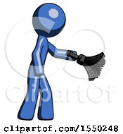 Blue Design Mascot Man Dusting With Feather Duster Downwards