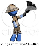 Blue Explorer Ranger Man Dusting With Feather Duster Upwards