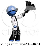 Blue Doctor Scientist Man Dusting With Feather Duster Upwards