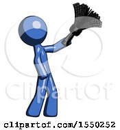 Blue Design Mascot Man Dusting With Feather Duster Upwards