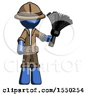 Blue Explorer Ranger Man Holding Feather Duster Facing Forward