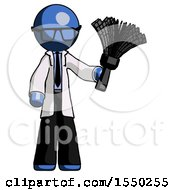 Blue Doctor Scientist Man Holding Feather Duster Facing Forward