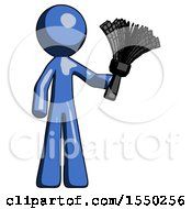 Blue Design Mascot Man Holding Feather Duster Facing Forward
