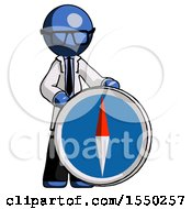 Blue Doctor Scientist Man Standing Beside Large Compass