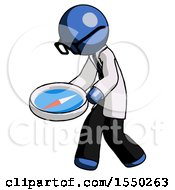 Blue Doctor Scientist Man Walking With Large Compass