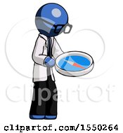 Blue Doctor Scientist Man Looking At Large Compass Facing Right
